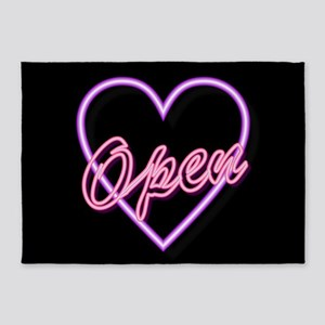 Neon Light Typography Heart 5'x7'Area Rug